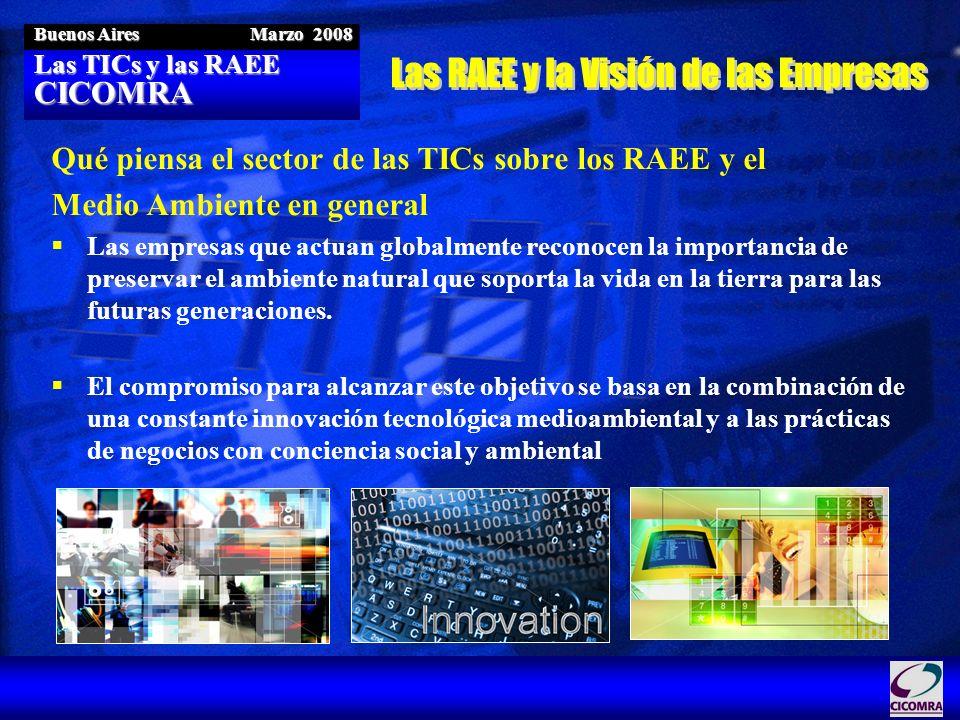 Las TICs y las RAEE CICOMRA Buenos Aires Marzo 2008 Compromiso de Innovación Tecnológica y Mejores Prácticas de negocios con Responsabilidad Social Reducción en la Fuente –Eliminación y phase-out de substancias controladas –Certificación de Proveedores Verdes –Incorporación de materiales reutilizables y/o reciclables Prolongación de la vida útil y reducción del impacto –Eco diseño –Eficiencia Energética –Materiales Alternativos Responsabilidad Extendida de los Fabricantes –Distintos esquemas de gestión y metas