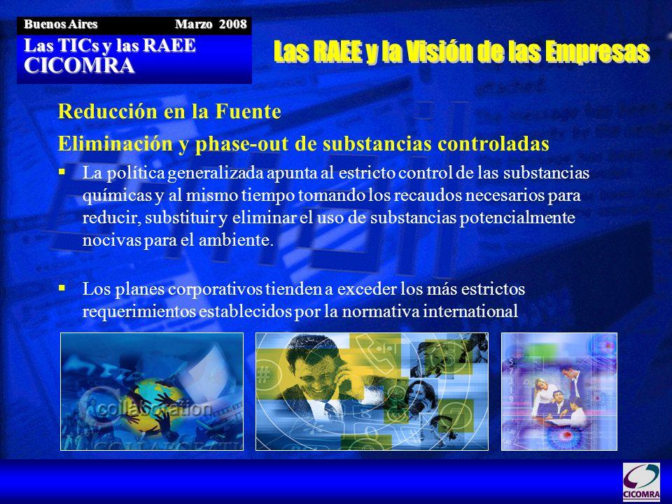 Las TICs y las RAEE CICOMRA Buenos Aires Marzo 2008 Reducción en la Fuente Eliminación y phase-out de substancias controladas La política generalizada