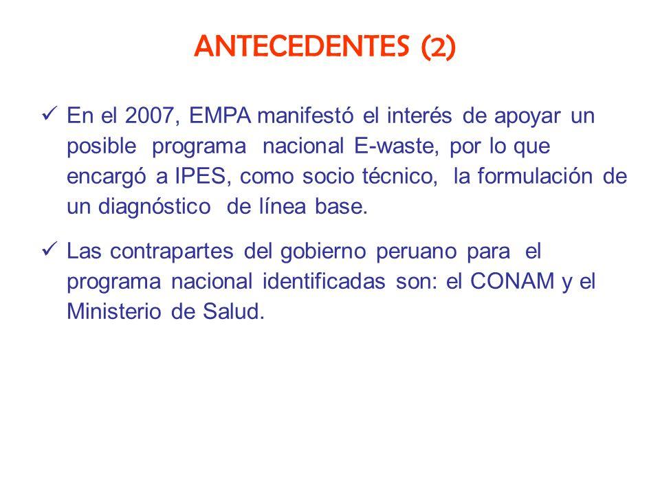 ANTECEDENTES (2) En el 2007, EMPA manifestó el interés de apoyar un posible programa nacional E-waste, por lo que encargó a IPES, como socio técnico,