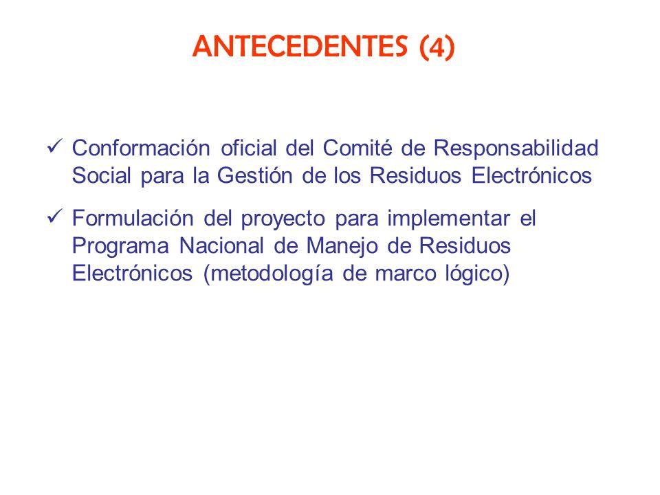 ANTECEDENTES (4) Conformación oficial del Comité de Responsabilidad Social para la Gestión de los Residuos Electrónicos Formulación del proyecto para