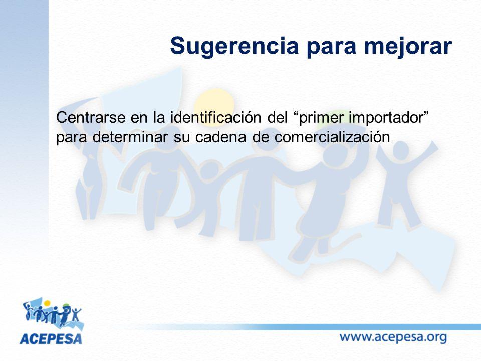 Sugerencia para mejorar Centrarse en la identificación del primer importador para determinar su cadena de comercialización