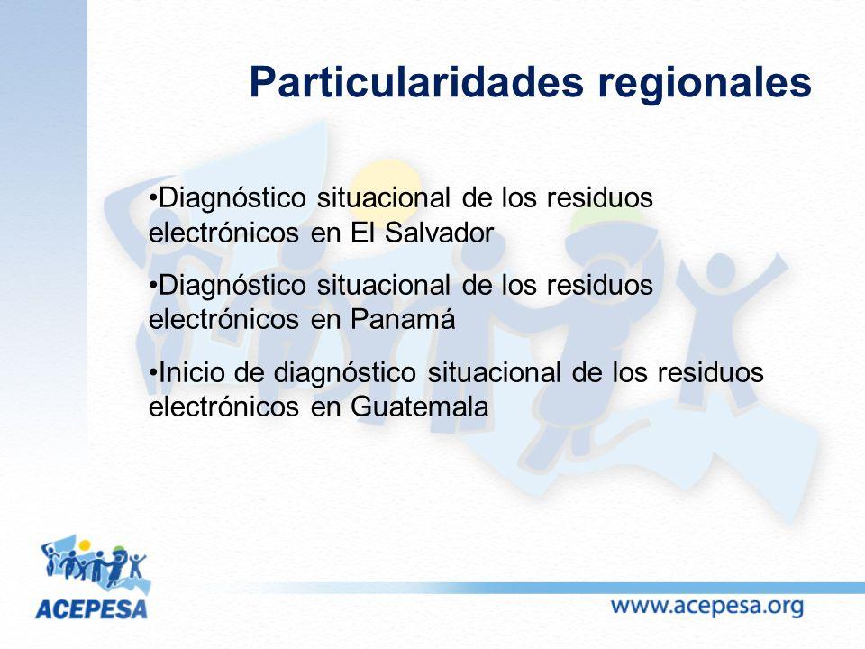 Particularidades regionales Diagnóstico situacional de los residuos electrónicos en El Salvador Diagnóstico situacional de los residuos electrónicos en Panamá Inicio de diagnóstico situacional de los residuos electrónicos en Guatemala