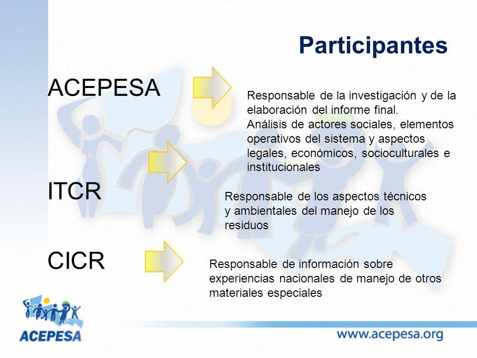Participantes ACEPESA ITCR CICR Responsable de la investigación y de la elaboración del informe final.
