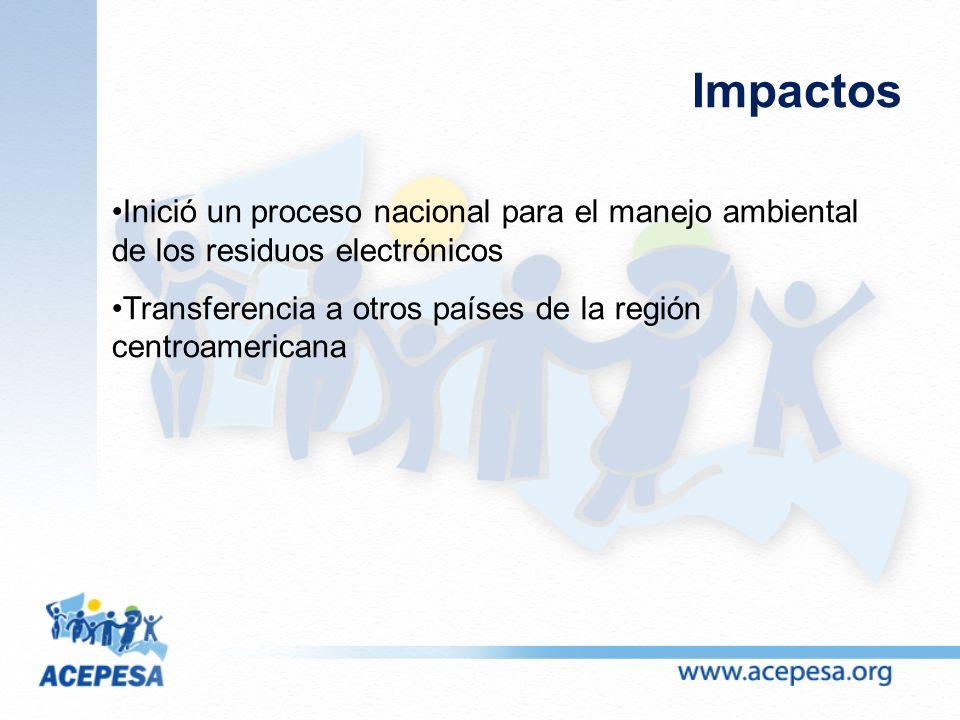 Impactos Inició un proceso nacional para el manejo ambiental de los residuos electrónicos Transferencia a otros países de la región centroamericana