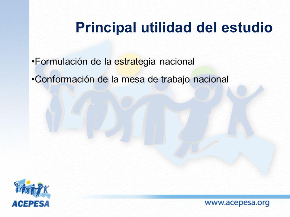 Principal utilidad del estudio Formulación de la estrategia nacional Conformación de la mesa de trabajo nacional