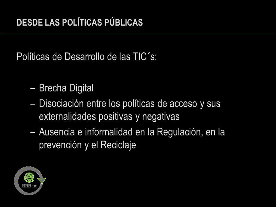DESDE LAS POLÍTICAS PÚBLICAS Políticas de Desarrollo de las TIC´s: –Brecha Digital –Disociación entre los políticas de acceso y sus externalidades pos