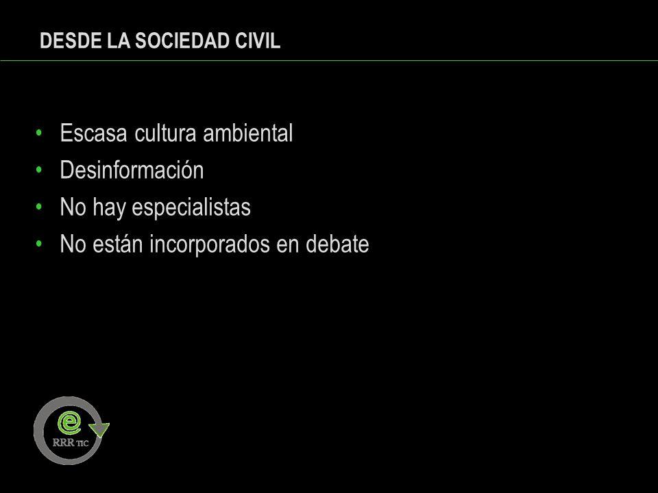 DESDE LA SOCIEDAD CIVIL Escasa cultura ambiental Desinformación No hay especialistas No están incorporados en debate