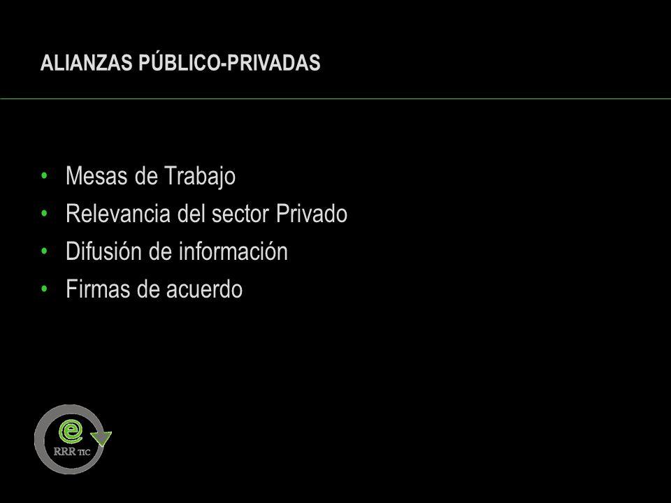 ALIANZAS PÚBLICO-PRIVADAS Mesas de Trabajo Relevancia del sector Privado Difusión de información Firmas de acuerdo