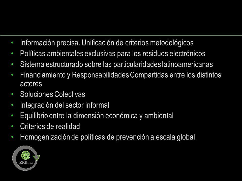 Información precisa. Unificación de criterios metodológicos Políticas ambientales exclusivas para los residuos electrónicos Sistema estructurado sobre