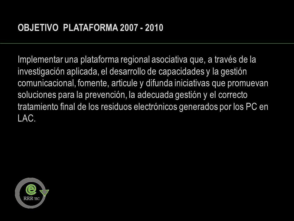 OBJETIVO PLATAFORMA 2007 - 2010 Implementar una plataforma regional asociativa que, a través de la investigación aplicada, el desarrollo de capacidade