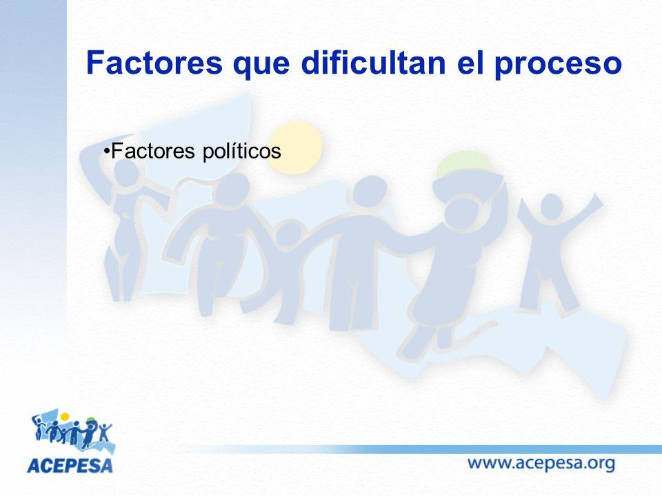 Factores que dificultan el proceso Factores políticos