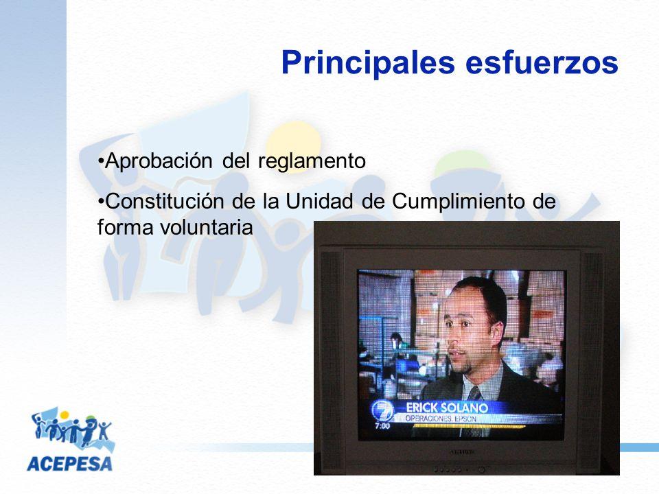 Principales esfuerzos Aprobación del reglamento Constitución de la Unidad de Cumplimiento de forma voluntaria