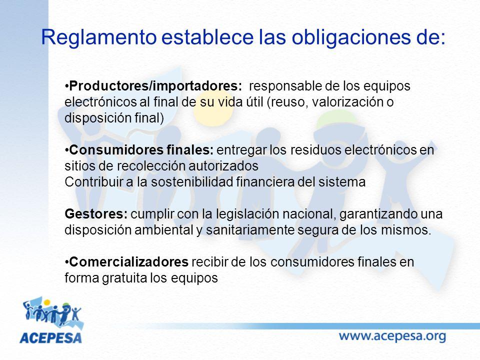 Productores/importadores: responsable de los equipos electrónicos al final de su vida útil (reuso, valorización o disposición final) Consumidores fina