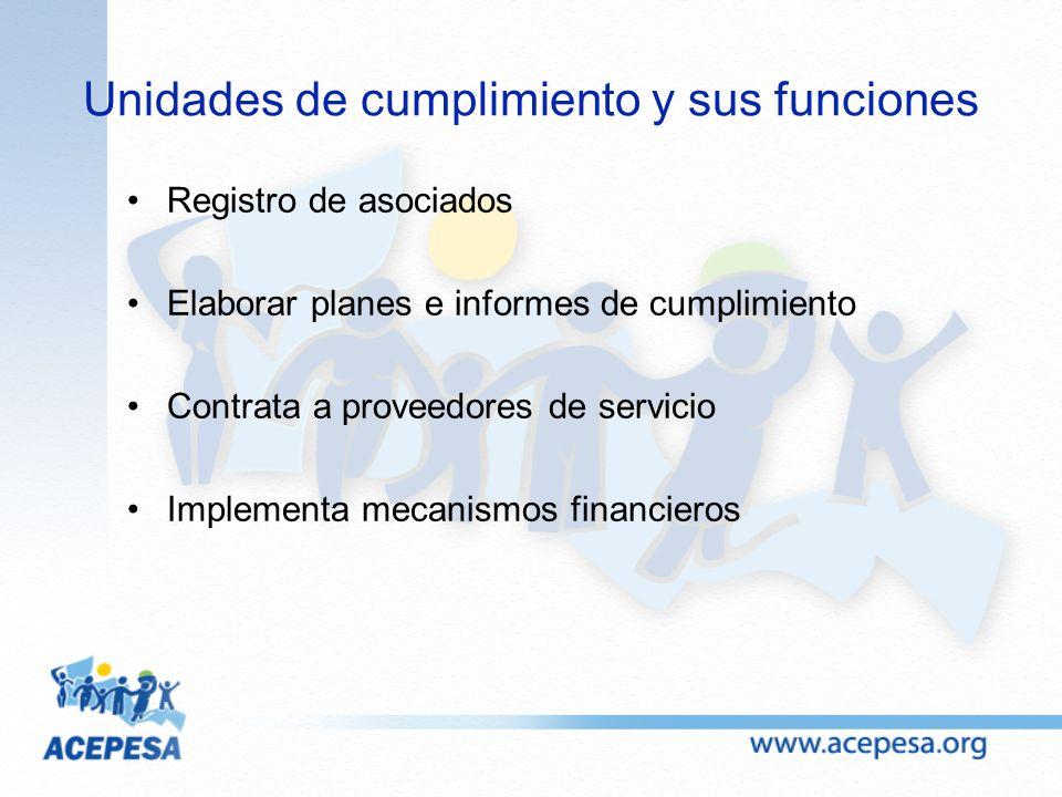 Unidades de cumplimiento y sus funciones Registro de asociados Elaborar planes e informes de cumplimiento Contrata a proveedores de servicio Implement