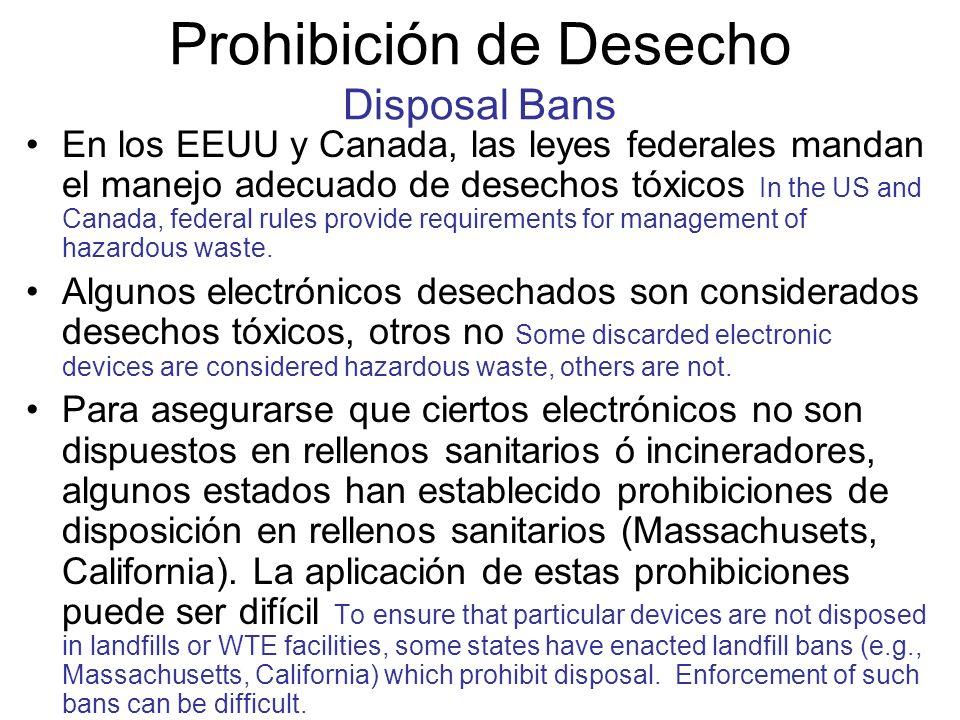 Prohibición de Desecho Disposal Bans En los EEUU y Canada, las leyes federales mandan el manejo adecuado de desechos tóxicos In the US and Canada, fed