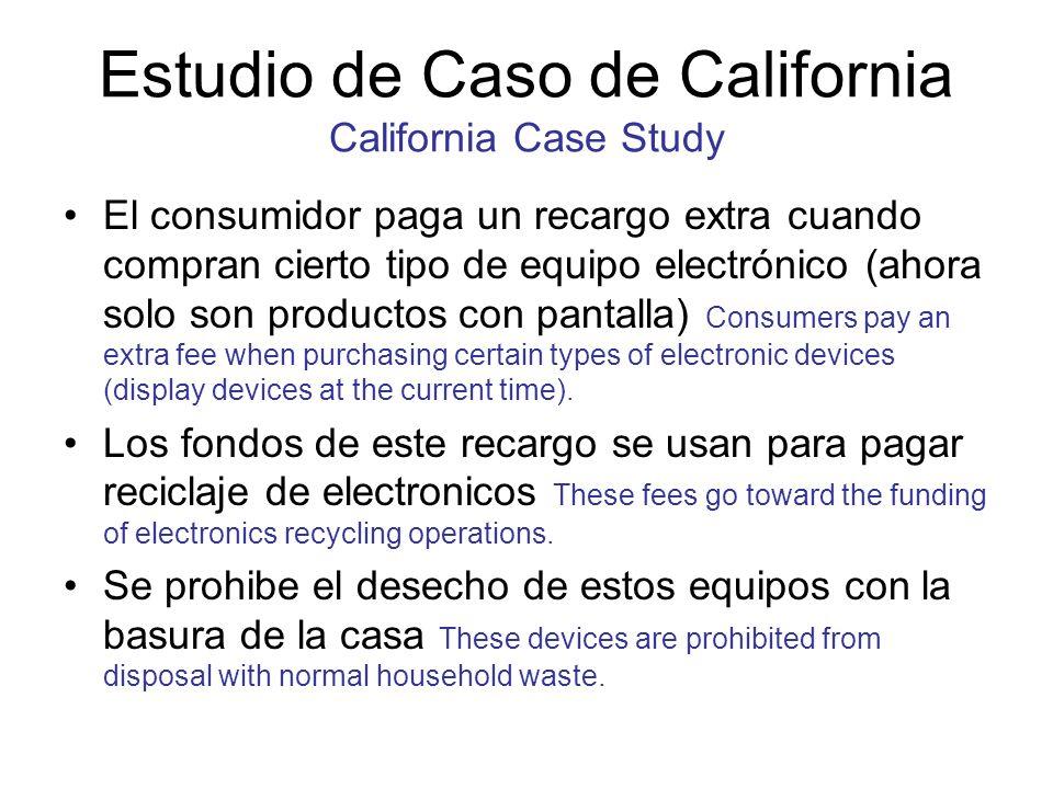 Estudio de Caso de California California Case Study El consumidor paga un recargo extra cuando compran cierto tipo de equipo electrónico (ahora solo s