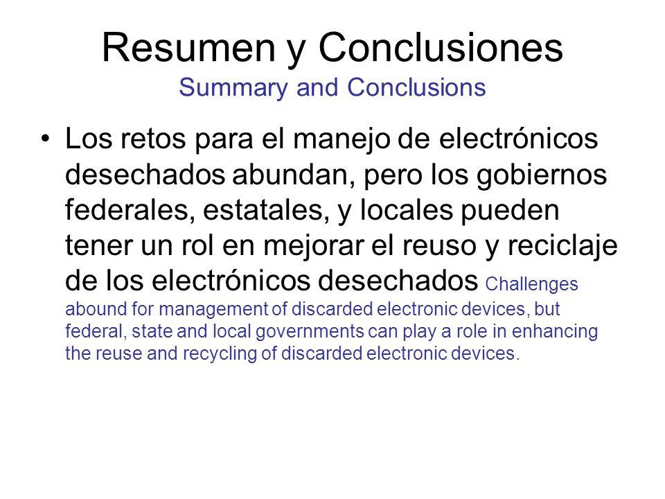 Resumen y Conclusiones Summary and Conclusions Los retos para el manejo de electrónicos desechados abundan, pero los gobiernos federales, estatales, y