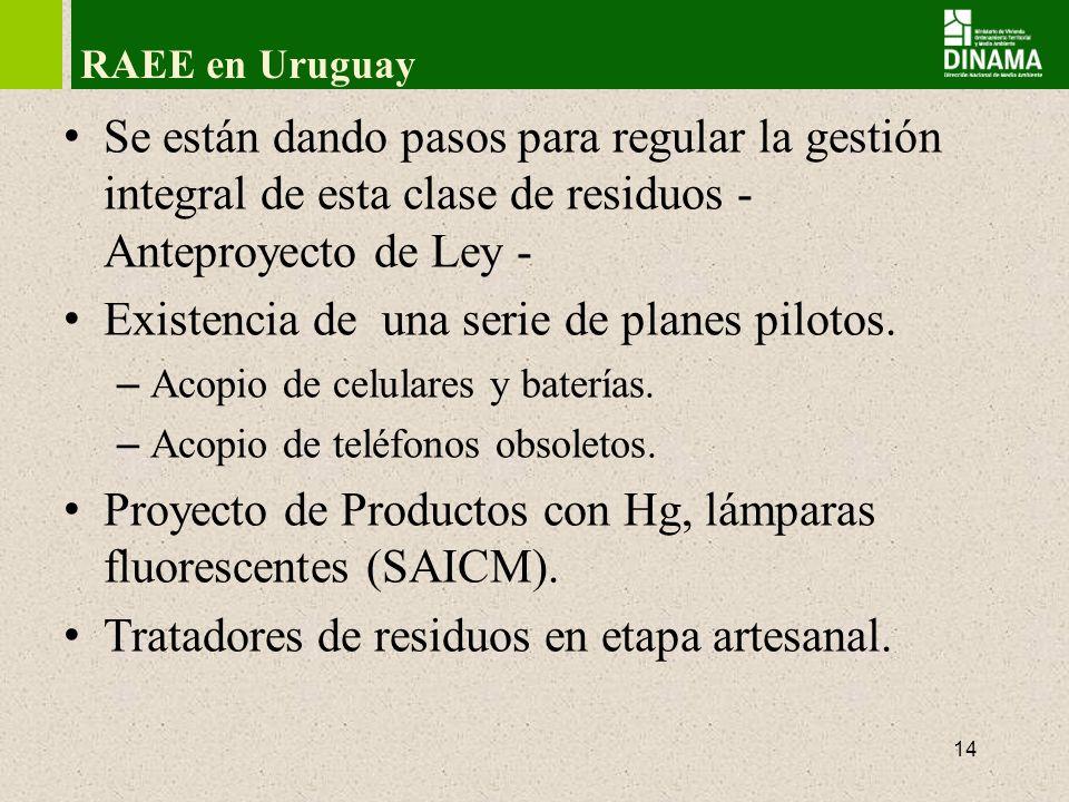 15 RAEEs en Uruguay – Anteproyecto de Ley 1º Crease el sistema de Gestión de RAEEs.