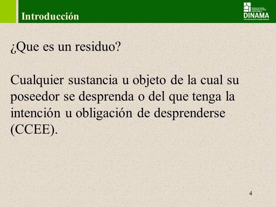 5 Introducción Todos los residuos deben ingresar a un sistema de gestión que incluya manejo, tratamiento, transporte, disposición final y fiscalización.