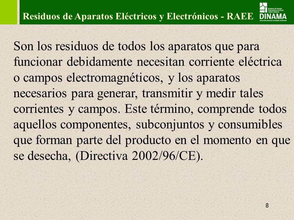 9 Clasificación de RAEE Se pueden clasificar de diversas maneras: Directiva 2002/96/CE -Grandes electrodomésticos: heladeras, lavadoras, cocinas, etc.