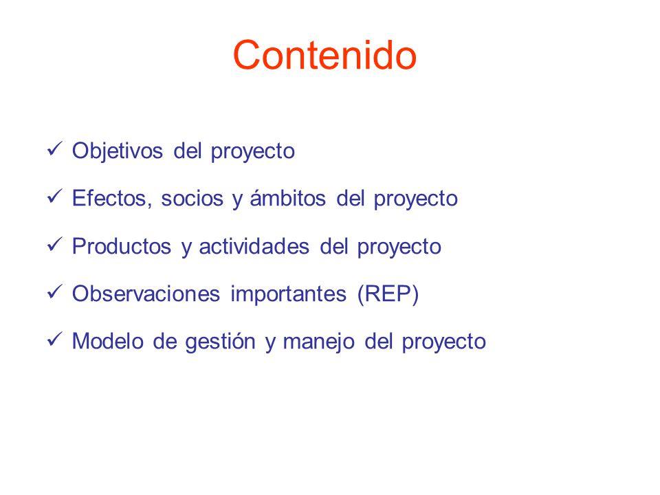 Contenido Objetivos del proyecto Efectos, socios y ámbitos del proyecto Productos y actividades del proyecto Observaciones importantes (REP) Modelo de