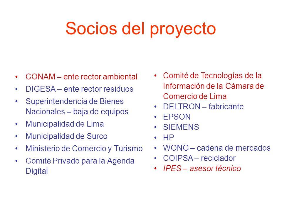 Socios del proyecto CONAM – ente rector ambiental DIGESA – ente rector residuos Superintendencia de Bienes Nacionales – baja de equipos Municipalidad