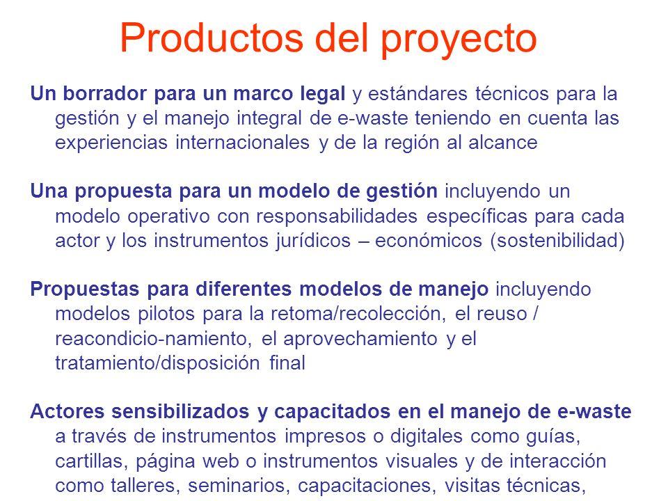 Un borrador para un marco legal y estándares técnicos para la gestión y el manejo integral de e-waste teniendo en cuenta las experiencias internaciona