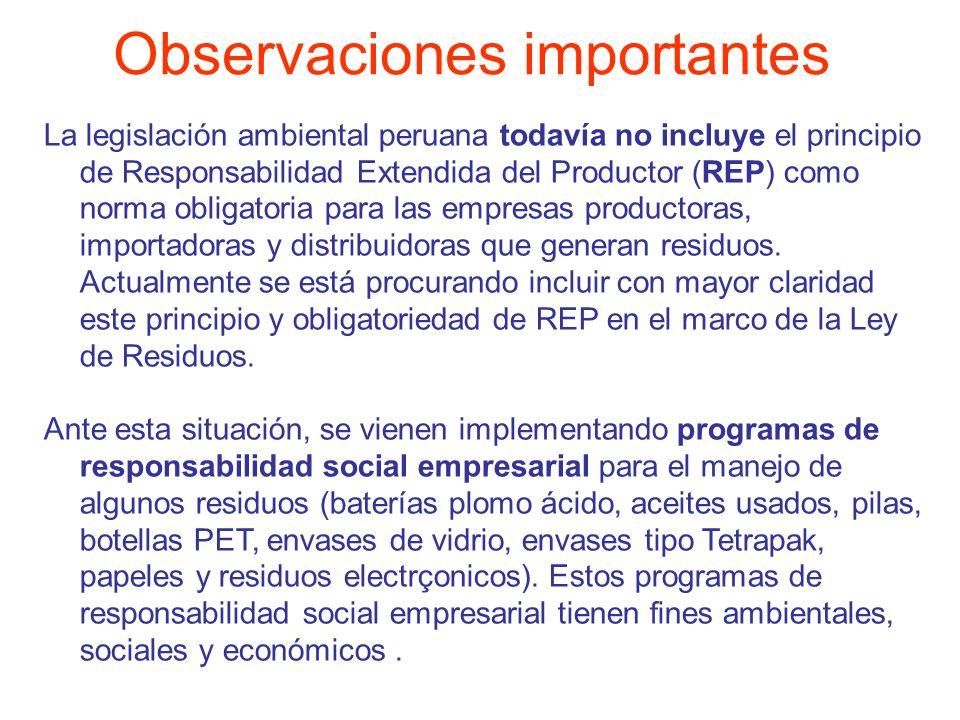 La legislación ambiental peruana todavía no incluye el principio de Responsabilidad Extendida del Productor (REP) como norma obligatoria para las empr