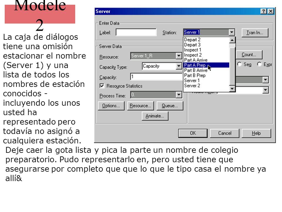 Modele 2 La caja de diálogos tiene una omisión estacionar el nombre (Server 1) y una lista de todos los nombres de estación conocidos - incluyendo los