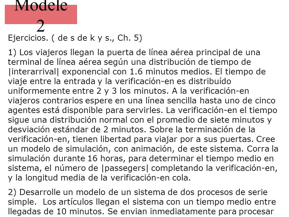 Modele 2 Ejercicios. ( de s de k y s., Ch. 5) 1) Los viajeros llegan la puerta de línea aérea principal de una terminal de línea aérea según una distr