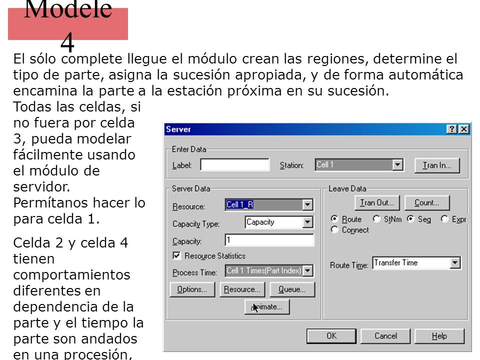 Modele 4 El sólo complete llegue el módulo crean las regiones, determine el tipo de parte, asigna la sucesión apropiada, y de forma automática encamina la parte a la estación próxima en su sucesión.