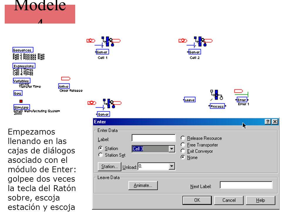 Modele 4 Empezamos llenando en las cajas de diálogos asociado con el módulo de Enter: golpee dos veces la tecla del Ratón sobre, escoja estación y escoja celda 3 de la gota- abajo lista.