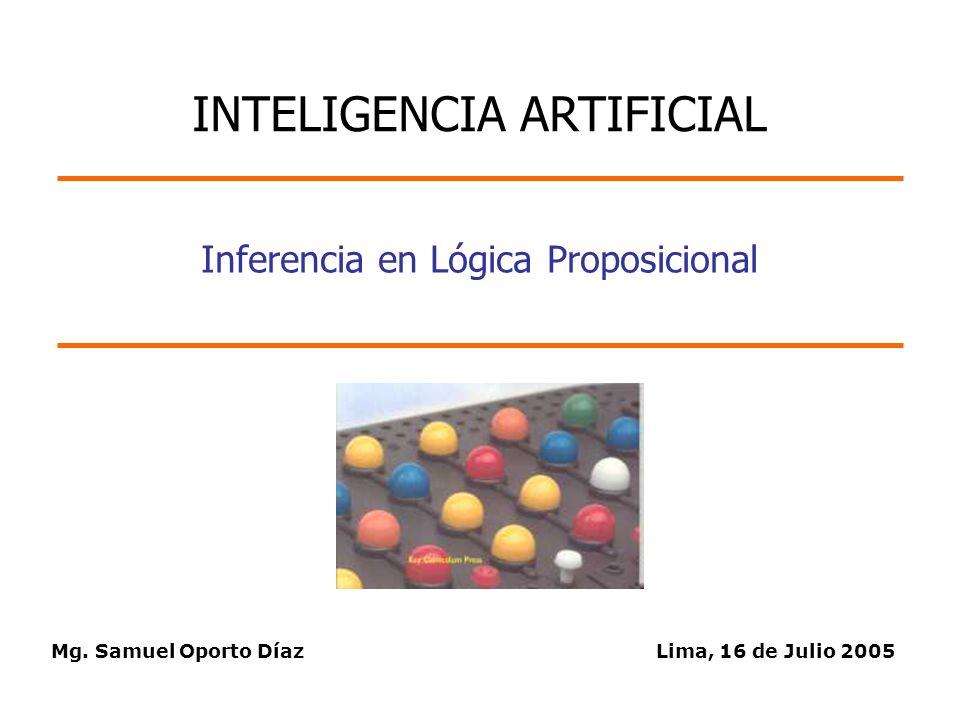 Mg. Samuel Oporto DíazLima, 16 de Julio 2005 Inferencia en Lógica Proposicional INTELIGENCIA ARTIFICIAL