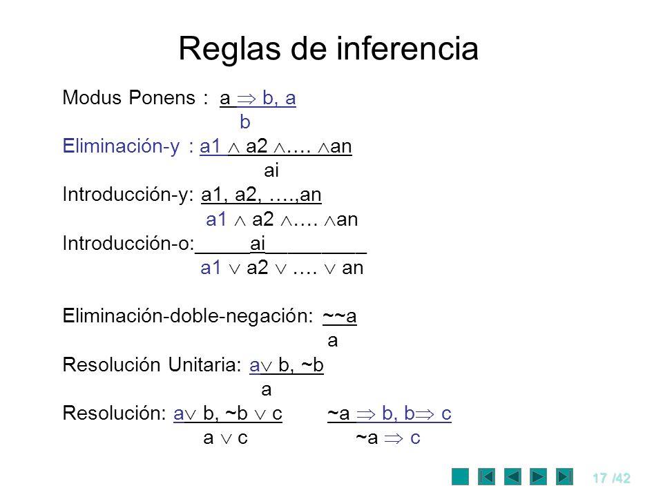 17/42 Reglas de inferencia Modus Ponens : a b, a b Eliminación-y : a1 a2 …. an ai Introducción-y: a1, a2, ….,an a1 a2 …. an Introducción-o:_____ai____