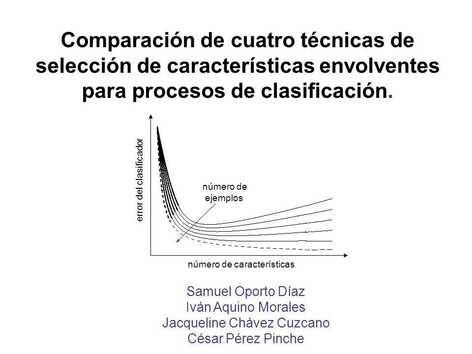 Comparación de cuatro técnicas de selección de características envolventes para procesos de clasificación. Samuel Oporto Díaz Iván Aquino Morales Jacq