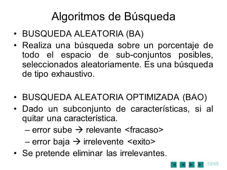 12/45 Algoritmos de Búsqueda BUSQUEDA ALEATORIA (BA) Realiza una búsqueda sobre un porcentaje de todo el espacio de sub-conjuntos posibles, selecciona