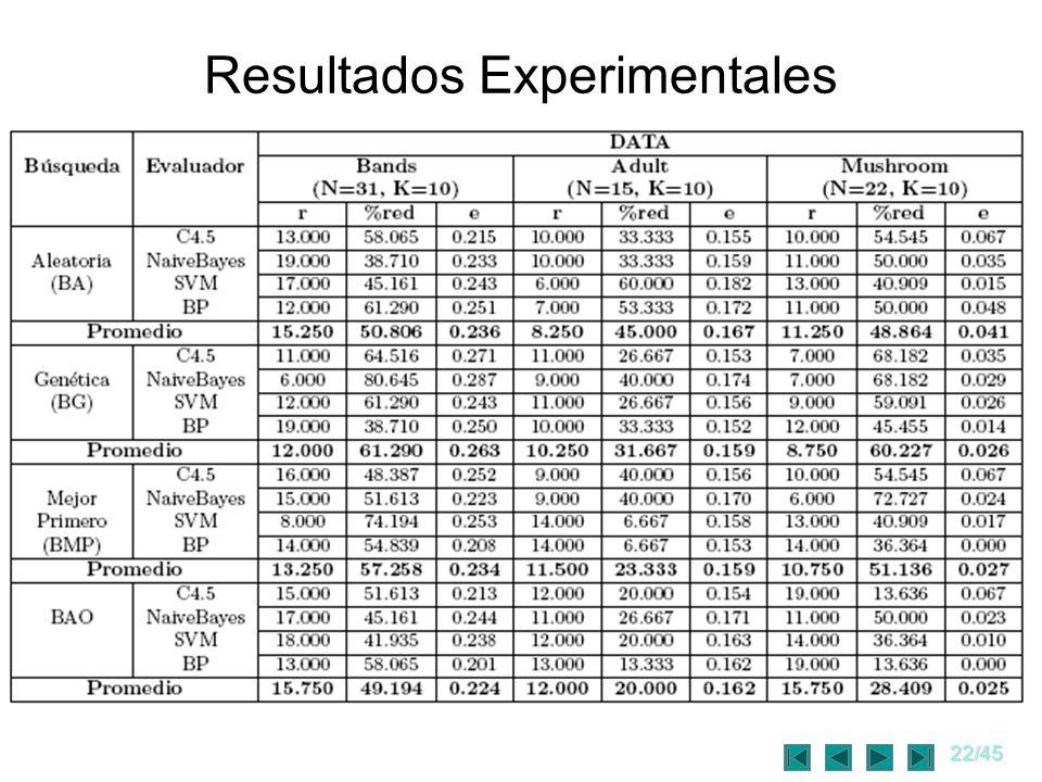22/45 Resultados Experimentales