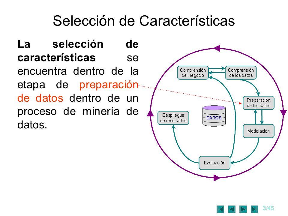 3/45 Selección de Características La selección de características se encuentra dentro de la etapa de preparación de datos dentro de un proceso de mine