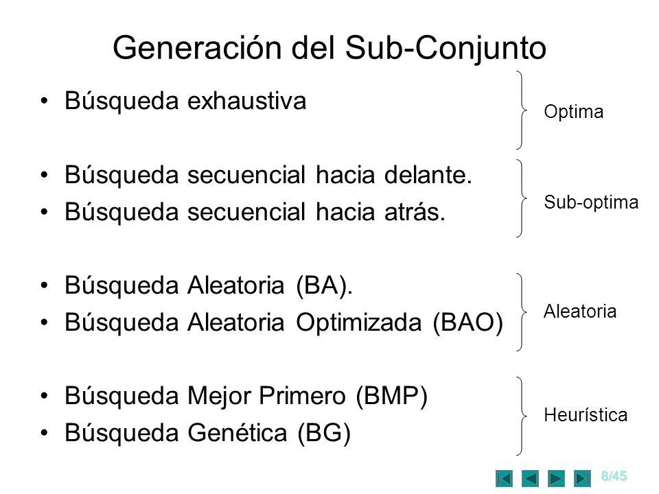 8/45 Generación del Sub-Conjunto Búsqueda exhaustiva Búsqueda secuencial hacia delante. Búsqueda secuencial hacia atrás. Búsqueda Aleatoria (BA). Búsq