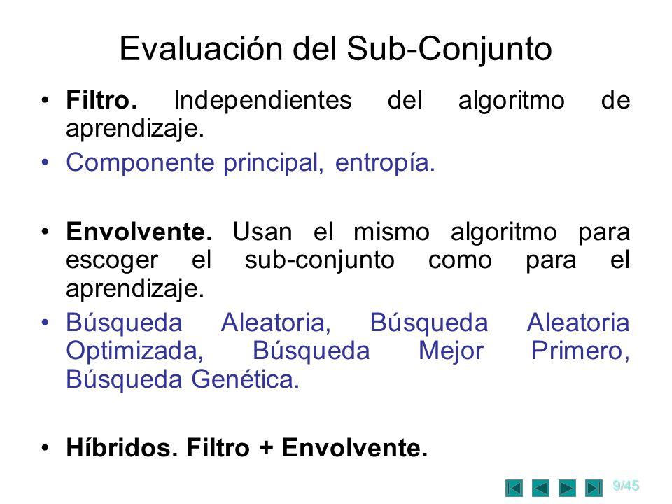 9/45 Evaluación del Sub-Conjunto Filtro. Independientes del algoritmo de aprendizaje. Componente principal, entropía. Envolvente. Usan el mismo algori