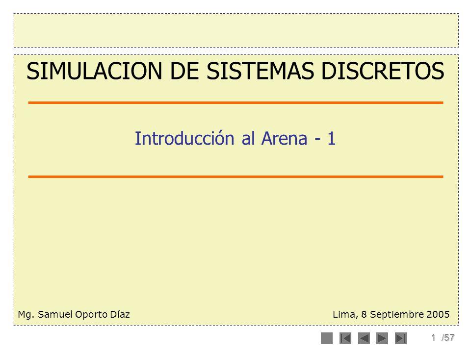 1/57 Introducción al Arena - 1 Lima, 8 Septiembre 2005 SIMULACION DE SISTEMAS DISCRETOS Mg. Samuel Oporto Díaz
