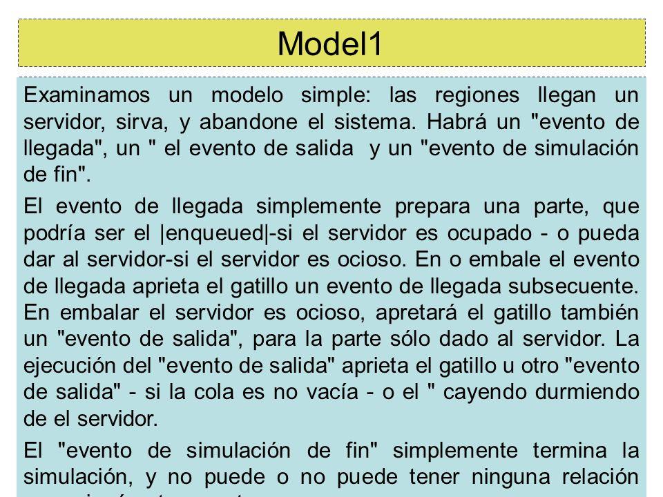 10/57 Model1 Examinamos un modelo simple: las regiones llegan un servidor, sirva, y abandone el sistema. Habrá un