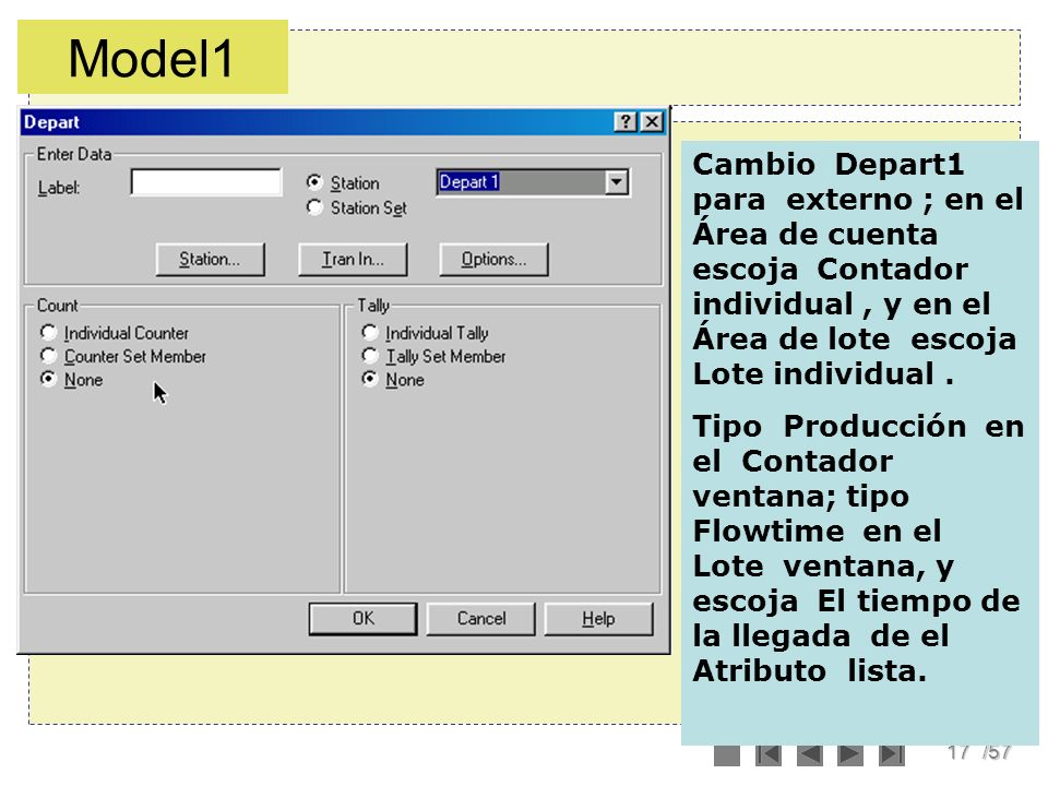 17/57 Cambio Depart1 para externo ; en el Área de cuenta escoja Contador individual, y en el Área de lote escoja Lote individual. Tipo Producción en e