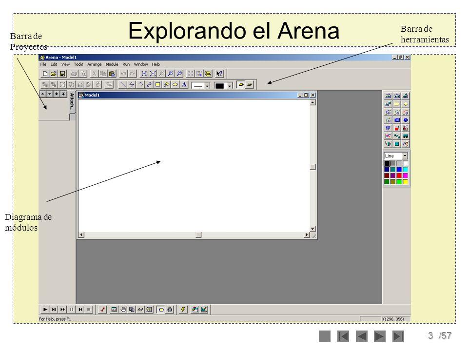 3/57 Explorando el Arena Barra de herramientas Barra de Proyectos Diagrama de módulos