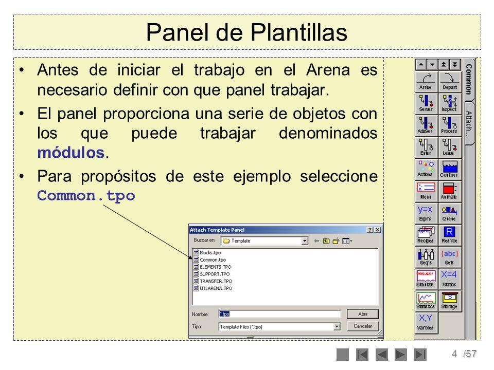 4/57 Panel de Plantillas Antes de iniciar el trabajo en el Arena es necesario definir con que panel trabajar. El panel proporciona una serie de objeto