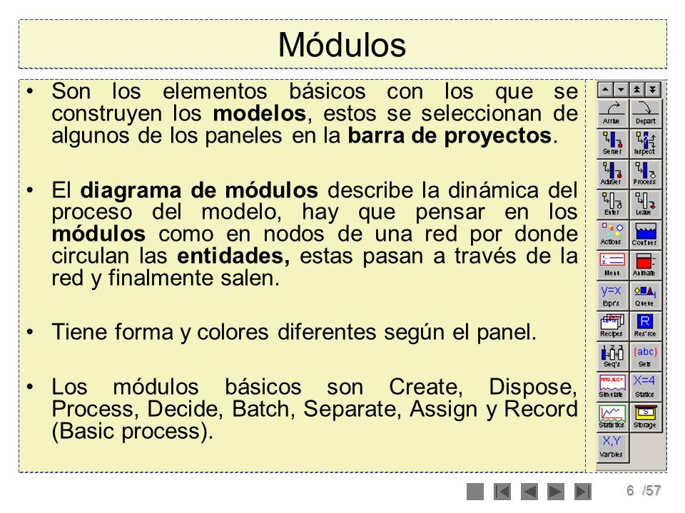 7/57 Módulos Para poner una instancia de un módulo en el modelo, hay que dar click en el elemento en el panel correspondiente y sin soltar arrastrarlo hasta la ventana del modelo (vista de diagrama).