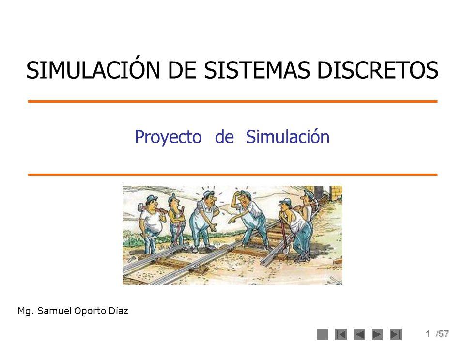 2/57 Objetivo de la Sesión Identificar las etapas de un proyecto de simulación de sistemas discretos.