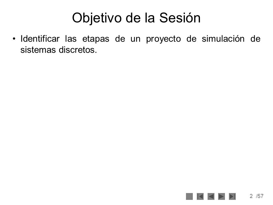 3/57 Tabla de Contenido 1.ObjetivosObjetivos 2.Simulación Continua y DiscretaSimulación Continua y Discreta 3.Proyecto de SimulaciónProyecto de Simulación 1.El ProblemaEl Problema 2.Recolección de DatosRecolección de Datos 3.El modeloEl modelo 4.VerificaciónVerificación 5.ValidaciónValidación 6.ExperimentaciónExperimentación 7.ResultadosResultados 8.DocumentaciónDocumentación 9.ImplantaciónImplantación 4.Bibliografía.Bibliografía