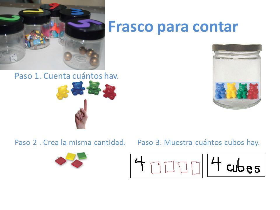 Frasco para contar Paso 1. Cuenta cuántos hay. Paso 2. Crea la misma cantidad. Paso 3. Muestra cuántos cubos hay.