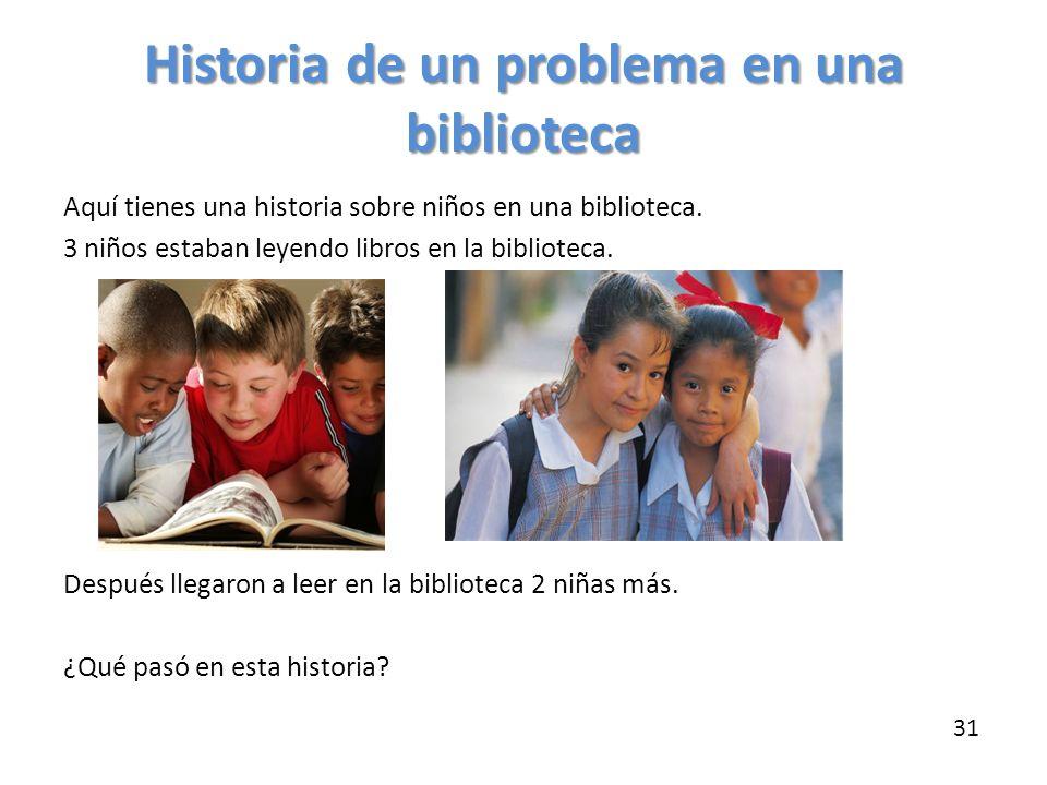 Historia de un problema en una biblioteca Aquí tienes una historia sobre niños en una biblioteca. 3 niños estaban leyendo libros en la biblioteca. Des